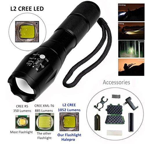Lampe de poche LED 1000 Lumens, zoom Bar XML L2 lampe de poche LED + batterie + Support + chargeur + Case by huichang