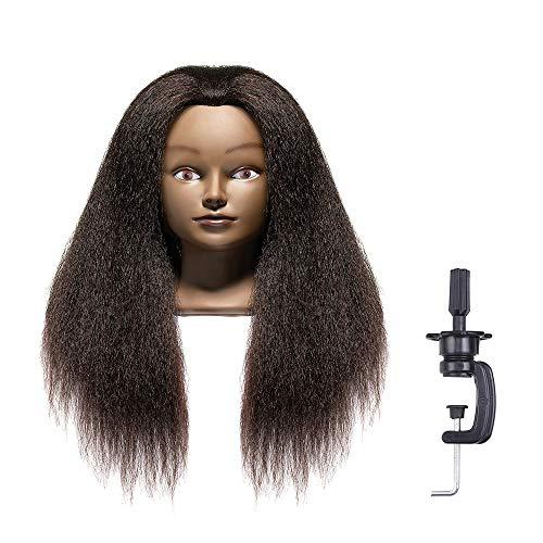 LuAiJa 100% Real Hair Mannequin Head Hairdresser Training Head Manikin Cosmetology Doll Head(Black Mannequin Real Hair Head)