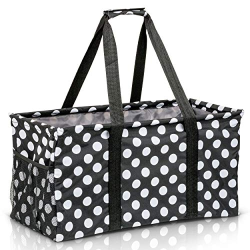 Extra Large Utility Tote Bag - Oversized Collapsible Reusable Wire Frame Rectangular Canvas Basket With Two Exterior Pockets For Beach, Pool, Laundry, Car Trunk, Storage - White Polka Dot