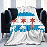 MJKII Chicago Flag Skyline Bear Bull Soft Queen Size Throw Blankets All Season Flannel Blanket Super Soft Warm Plush Lightweight - Perfect for Sofa Bed, Adult Kids Gift (80'' x60'')