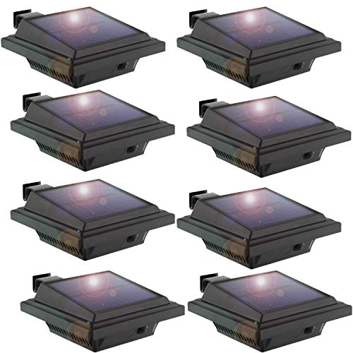 Solar Lights Outdoor, 8 Packs Fence Gutter Solar Lights 40 Led 2W Light Sensing Auto On/Off Solar Powered Lights for Garden, Yard, Fence, Wall, Roof (Cold-white Light)