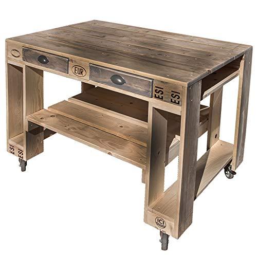 51esyPBhuAL - Palettenmöbel Grill-Tisch Captain Cook Basic, Neuholz gebeizt in klassischer Paletten Optik, jedes Teil ist einzigartig und Wird in Deutschland in Handarbeit gefertigt