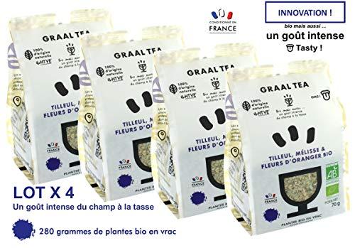GRAALTEA TILLEUL, MÉLISSE & FLEURS D'ORANGER Bio / Plantes bio en vrac pour infusion / Lot de 4 paquets x 70 grammes