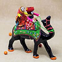 JH Gallery Recycled Material Rajasthani Doll Couple Rider Idol, 18 x 16 x 5 cm, Camel
