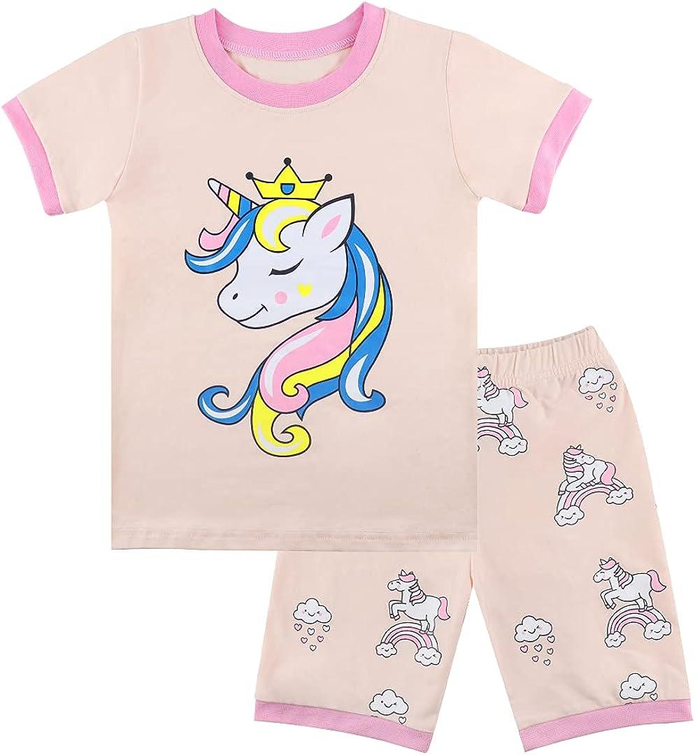 Toddler Girls Pajama Set PJs Unicorns Pink Sleepwear Valentine's Day Gift 2Piece Summer Short Set Size 2-8T