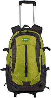 GLJJQMY Travel Backpack Oxford Cloth Large Capacity Luggage Trolley Outdoor Leisure Multi-Function Backpack Trolley Backpack (Color : Green, Size : 44x20x32cm)