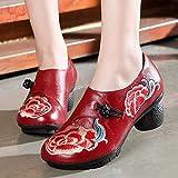 Zapatos De Mujer Cuero Soft Caucho Único Floral Vintage Diseño Original Retro Nudo Handmade Tacón Alto Platform Rojo Round Toe Botines Primavera Verano Sandalias Casual Transpirable Cómodo Señor