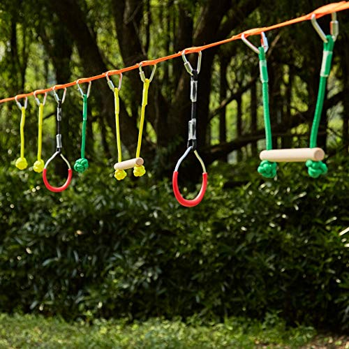 Z ZELUS Portable 40 Foot Slackline Monkey Bar Kit - Kids Swinging Obstacle Course Set - Bars, Fists, Gymnastics Rings, 250lb. Weight Capacity