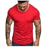 Camisetas Hombre Manga Corta Baratas SHOBDW 2019 Blusas Color Sólido Cómodo Tallas Grandes Tops Verano Camisetas Hombre Basicas Cuello Redondo Venta de liquidación M-3XL(Rojo,S)