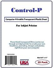 (25 Pack) Clear InkJet Transparency Film / Computer Printable Transparent Plastic Sheets for Ink Jet Printer, Letter Size 8.5