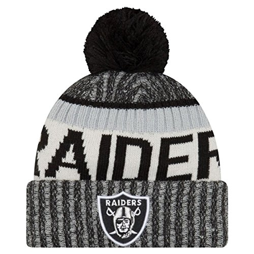New Era Herren NFL Sideline Bommel Knit Oakland Raiders Beanie, Black, One Size