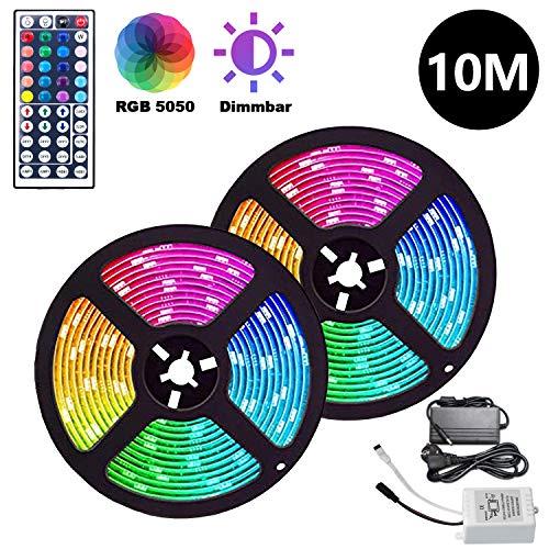 Hengda LED Strip, 10M(2x5M) 600LEDs, LED Streifen RGB SMD 5050 LEDs, LED Band mit 44Tasten Fernbedienung und Netzteil, Lichtband Ideal für Weihnachten, Haus, Küche