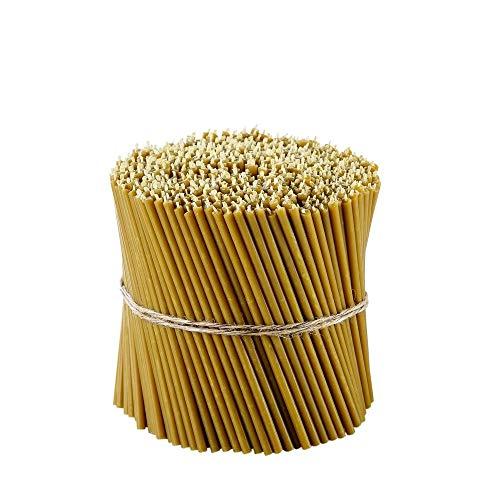 Danilovo Ritual Kerzen 100% cera de abeja (amarillo) - Velas ortopédicas para oración o decoración de mesa de boda - no tóxicas, N100, altura: 16,5 cm, diámetro: 5,7 mm (150 unidades - 600 g) ⭐