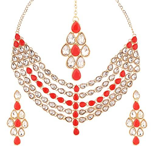 Efulgenz Gargantilla india Kundan Crystal Capas Estilo Collar Pendientes Maang Tikka Head Chain Bollywood Boda Nupcial Set para Mujeres, Rojo