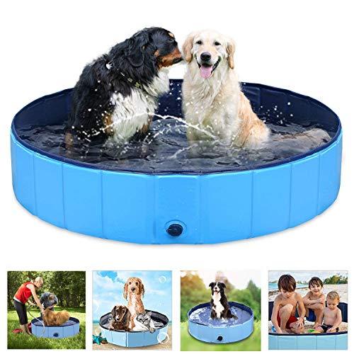 ペットバスプール Onlygreen 犬 プール ペットシャワー用プール 子供用プール 犬、猫用 子どもの水遊びプール 折り畳み 持ち運び便利 PVC複合素材 耐磨 防水 夏 猫 小型犬 中型犬 お風呂ために (80*20, ブルー)