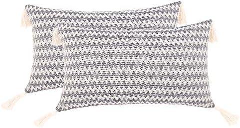 cygnus Set of 2 Boho Decorative Lumbar Throw Pillow Covers Cotton Wowen Textured Rectangle Pillow product image