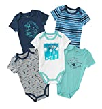 Lucky Brand Baby Boys' Infant 5 Pack Bodysuits (0-3 Months, Navy/Turq)