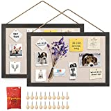 Miratino 2-Pack Wood Board with Linen 16x11 inch Bulletin Board Wall Decor Hanging Pin Wood Framed Display Bulletin Cork Picture Board Light for Room School Office Bedroom 20-Pushpin Vintage Black