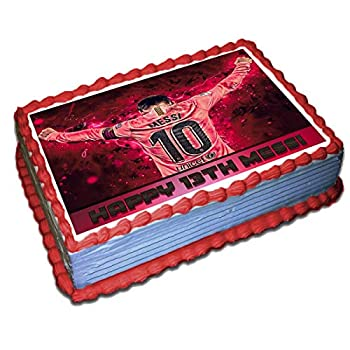 Messi Barcelona FC Personalized Cake Toppers 1/4 8.5 x 11.5 Inches Birthday Cake Topper
