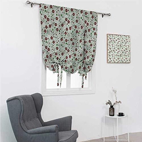 Window Shades Floral Roman Blinds for Window Oriental Green Leaf Pattern 48' Wide by 72' Long