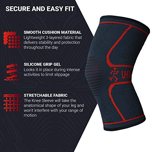 UFlex Athletics Knee Compression Sleeve Support for Running, Jogging, Sports - Brace for Joint Pain Relief, Arthritis and Injury Recovery - Single Wrap Size Small