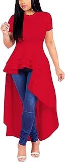Women Ruffle High Low Asymmetrical Bodycon Peplum Tops Blouse Shirt Dress