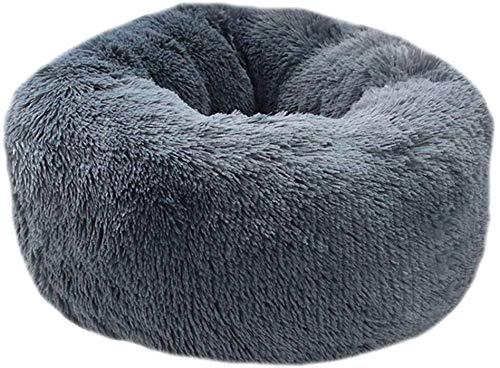 Soul hill sjaal pluche donut knuffel kat bed warm pluche hond puppy mat huisdier bedden, 60CM, Grijs 1