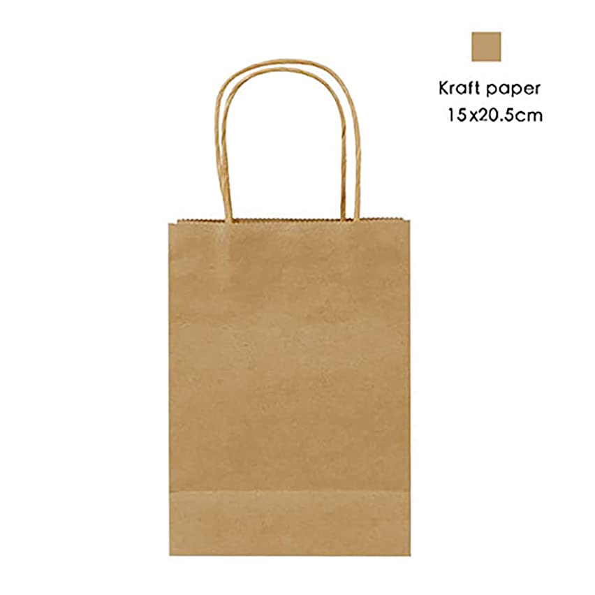 12 Pieces Party Favor Bags Gift Bags Kraft Paper Bags with Handles for Birthday, Tea Party, Wedding, Baby Shower and Party Celebrations - Small, Brown