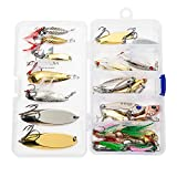 Nordtale Fishing Spoon Set 20PCS Fishing Spoons Fishing Lures Metal Lures Hard Baits Treble Hook for Bass Trout Walleye