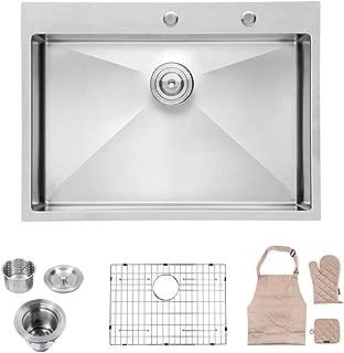 Lordear 28 Inch Drop-in Topmount 16 Gauge R10 Tight Radius Stainless Steel Kitchen Sink Single Bowl
