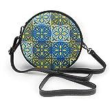 Marokkanische Keramikfliesen, nahtloses Muster, Vektorbild, runde Umhängetasche, Reißverschluss, Schultertasche, weiches Leder, Kreis, Geldbörse für Frauen, personalisierbar