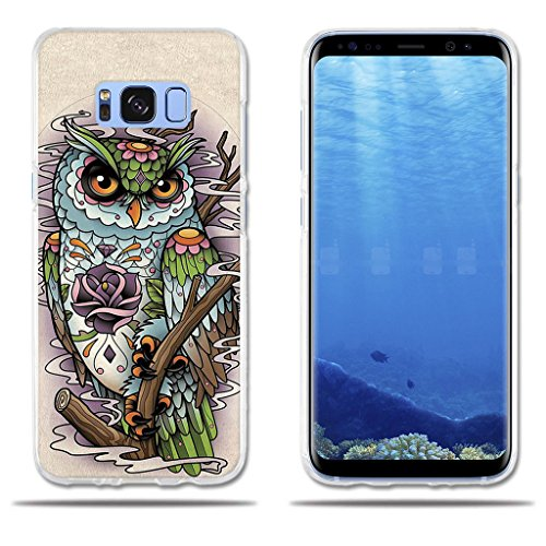 Samsung Galaxy S8 Case Cute Cartoon Drawing of Owl FUBAODA TPU Silicone Shell [Impact Resistant][Shockproof][Slim Thin] Light Soft Rubber Gel Protective Case for Samsung Galaxy S8