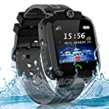 Kids Smart Watch Phone, SOS IP67 Waterproof Smartwatch LBS Tracker for Boys Girls Touch Screen Game Voice Chat Camera Digital Wrist Watch Birthday Gift (Cool Black)