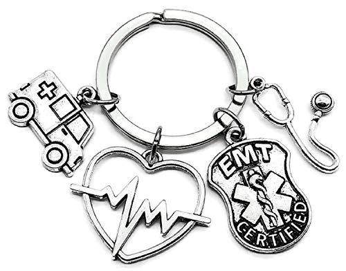 EMT Emergency Medical Technician, EMT keychain, ECG / EKG Heartbeat, Medical Alert, EMT gift, Ambulance, Stethoscope, Caduceus Medical Symbol charm, EMT graduation Gift (EMT Heartbeat Keychain)