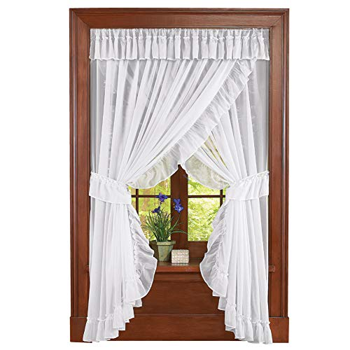 Collections Etc Isabella Ruffled Sheer Fabric Rod Pocket Window Curtain Set, White