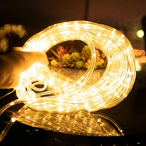 Solar Rope String Lights Outdoor 72Ft 200 Led Waterproof Solar Powered Fairy Lights with 8 Lighting Modes, Copper Wire PVC Tube Lights for Garden Wedding Christmas Party DIY Decor(Warm White, 1 Pack)