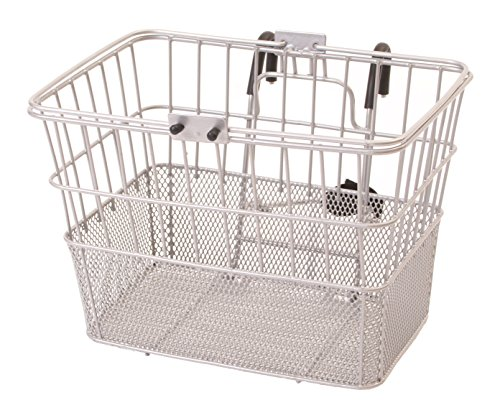 Retrospec Bicycles Detachable Steel Half-Mesh Apollo Bike Basket with Handles, Silver
