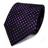 TigerTie Corbata de seda de diseño con lunares estampados, ancho de corbata de 8 cm., Morado, morado, negro., Talla única