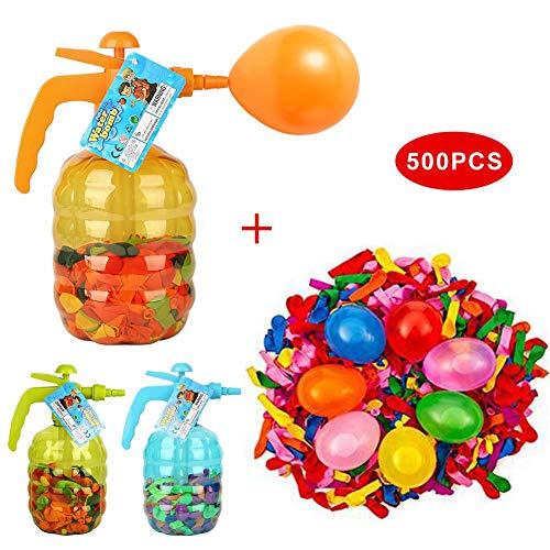 Clevoers Wasserballonpumpe Wasserbomben-Füller, Wasserballon Pumpe mit 500 Stück Wasserballons, Einfaches Füllen Luft und Wasser mit großer Kapazität