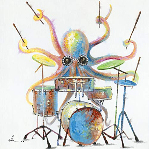 Octopus Drums Wall Art Modern Printing On Canvas Painting with Hand Embellished Home Decor 28' x 28'