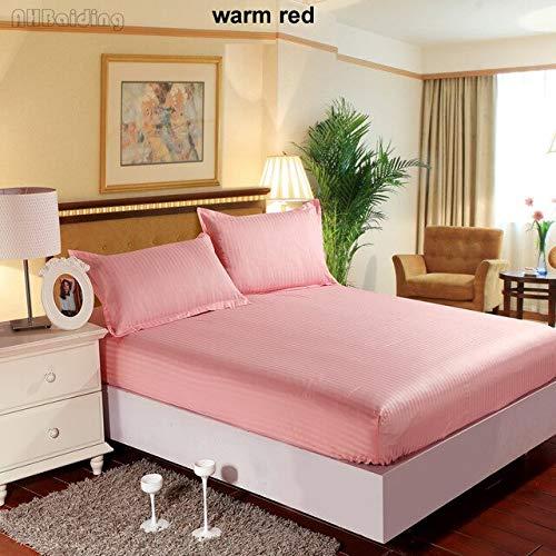 Hoeslaken, eenkleurig, hotelkwaliteit, 5 sterren, hoeslaken van 100% katoen, satijn, met elastiek, 360 graden, Queen-Size 2 kussenslopen, 200 x 200 x 25 cm, rood
