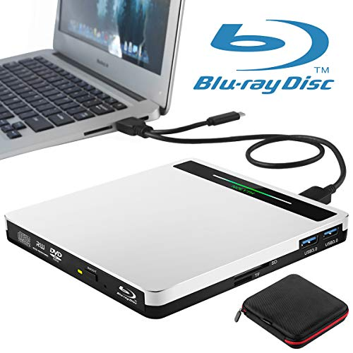 External Blu Ray DVD Drive USB 3.0 Type-C 5 in 1 Bluray Drive Player BD Burner for Laptop Mac MacBook Pro Air Windows 10 Desktop PC