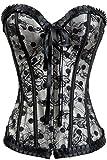 Alivila.Y Fashion Womens Vintage Floral Denim Overbust Corset Bustier Top - - XL
