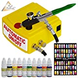 Set AERÓGRAFO COMPRESOR - AIRBRUSH COMPRESOR CARRY I - con 10 COLORES AEROGRAFO y KIT PLANTILLAS AERÓGRAFO para uñas, PISTOLA AERÓGRAFO UNIVERSAL Kit con boquilla/aguja de 0,3mm, ideal para nail art