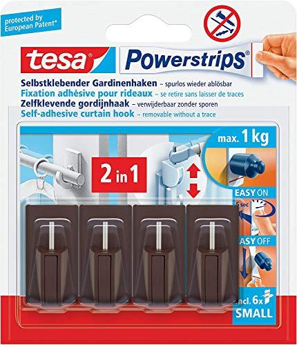 tesa Powerstrips Gardinenhaken, selbstklebend, braun, 20 Stück