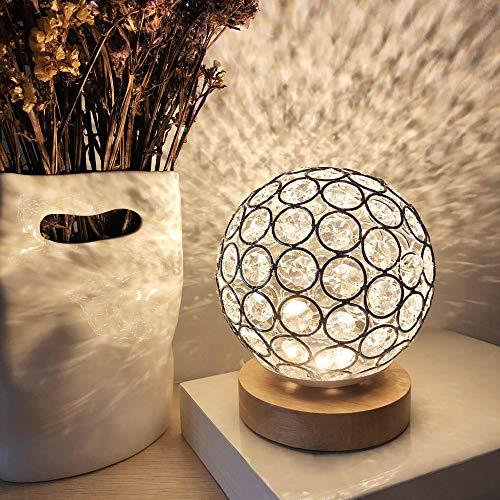 MUCHER Lámpara de mesa USB de cristal, bola de cristal plateada con base de madera, lámpara de mesita de noche, luz de noche moderna regulable para dormitorio, sala de estar, oficina