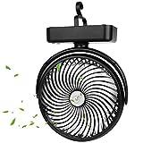 Ventilatore da Campeggio, Portatile Ventilatore USB, Ventilatore da Tavolo con Luce LED, 5...