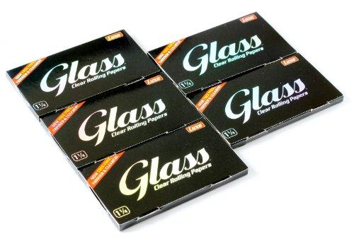 5 booklets x GLASS Zigarettenpapier Größe 1 1/4 - 100% Natural - 250 papers