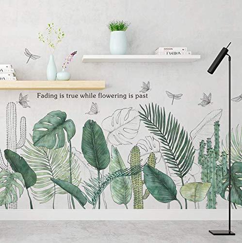 Piante tropicali Foglie verdi Adesivi murali Soggiorno Camera da letto Bagno Camera dei bambini Decalcomanie da muro in vinile Decorazioni murali Decorazioni per la casa