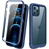 Diaclara Designed for iPhone 12 Pro Max Case, Full Body Rugged Case with Built-in Touch Sensitive Anti-Scratch Screen Protector, Soft TPU Bumper Case for iPhone 12 Pro Max 6.7' (Dark Blue and Clear)